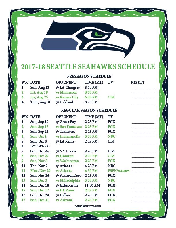 Printable 2017 2018 Seattle Seahawks Schedule
