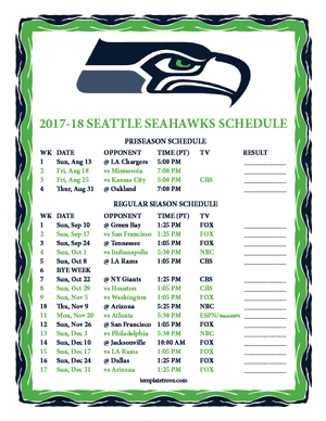 Seattle Seahawks 2017-18 Printable Schedule - Pacific Times