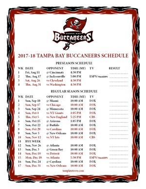 Tampa Bay Buccaneers 2017-18 Printable Schedule - Pacific Times