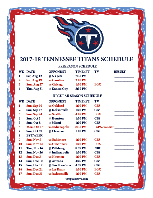 Printable 2017 2018 Tennessee Titans Schedule