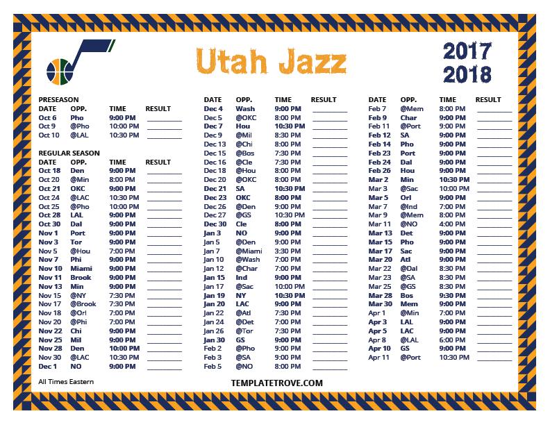 photograph regarding Utah Jazz Schedule Printable identified as Printable 2017-2018 Utah Jazz Program