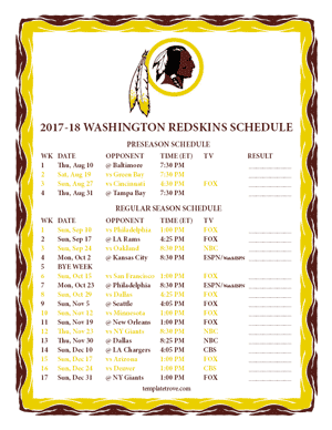 Washington Redskins 2017-18 Printable Schedule