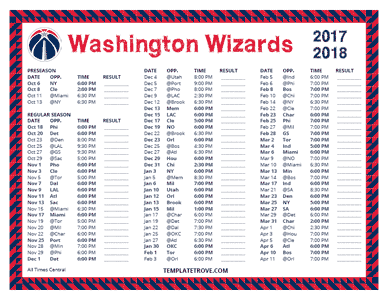 2017-18 Printable Washington Wizards Schedule - Central Times