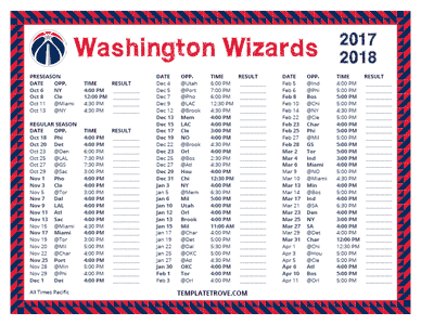 Washington Wizards 2017-18 Printable Schedule - Pacific Times
