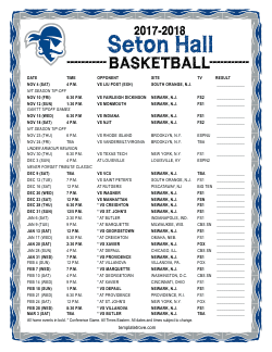 2017-2018 Seton Hall Pirates Basketball Schedule