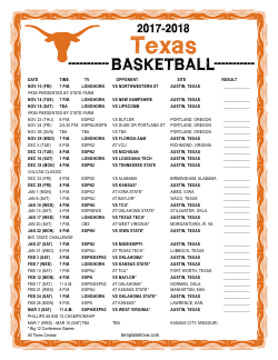 2017-2018 Texas Longhorns Basketball Schedule