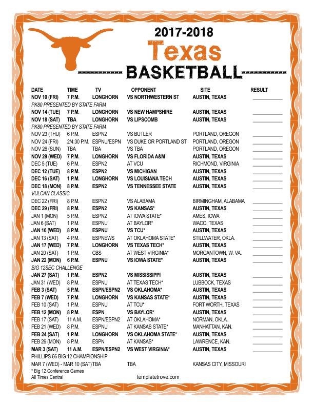 printable 2017 2018 texas longhorns basketball schedule
