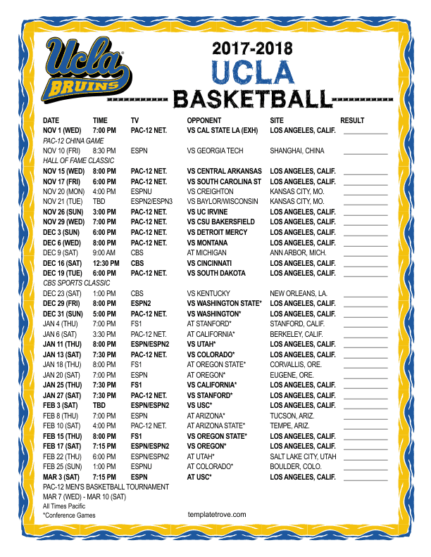 Printable 2017 2018 Ucla Bruins Basketball Schedule