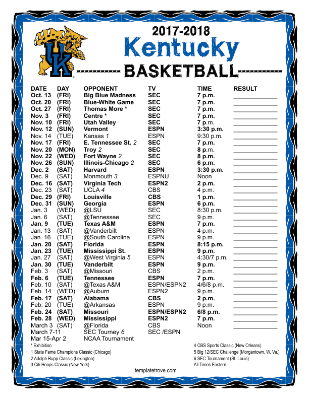 picture about Uk Basketball Schedule Printable referred to as Printable 2017-2018 Kentucky Wildcats Basketball Agenda