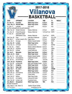 2017-18 Villanova Wildcats Basketball Schedule