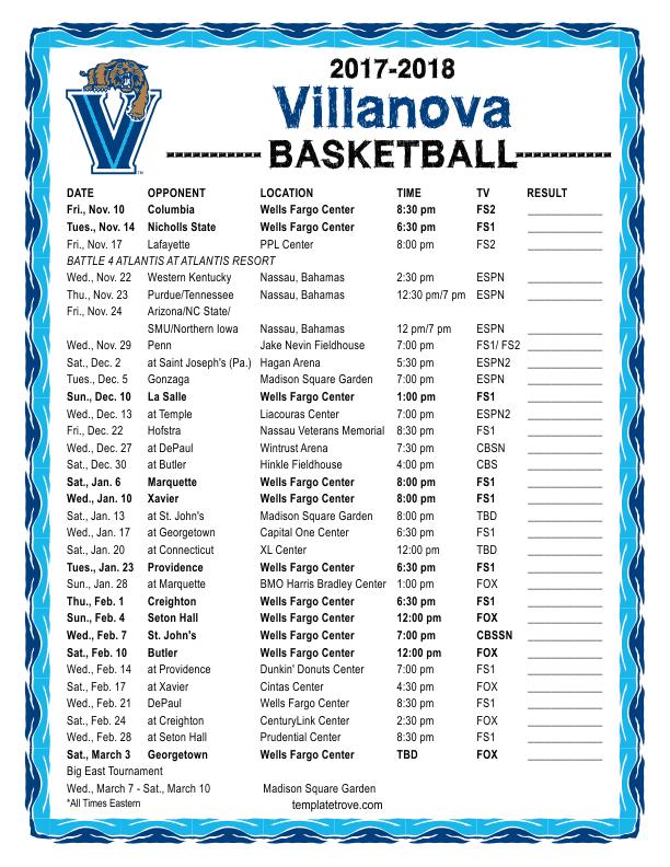 Printable 2017-2018 Villanova Wildcats Basketball Schedule