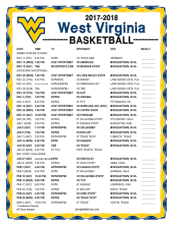 2017-2018 West Virginia Mountaineers Basketball Schedule
