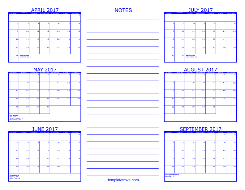 six month calendar template