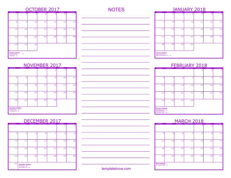 6 Month Calendar - 2017