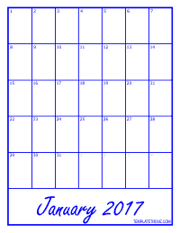 2017 Blank Monthly Calendar - Blue
