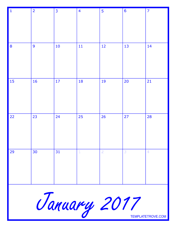 2017 monthly calendar template