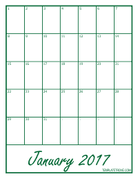 2017 Blank Monthly Calendar - Green