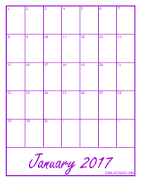 2017 Blank Monthly Calendar - Purple