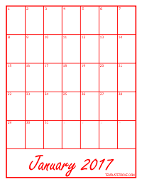 2017 Blank Monthly Calendar - Red