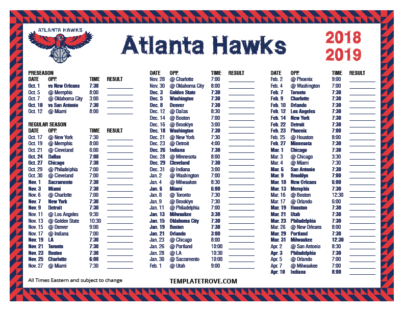 Printable 2018 2019 Atlanta Hawks Schedule