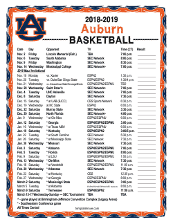 2018-2019 Auburn Tigers Basketball Schedule