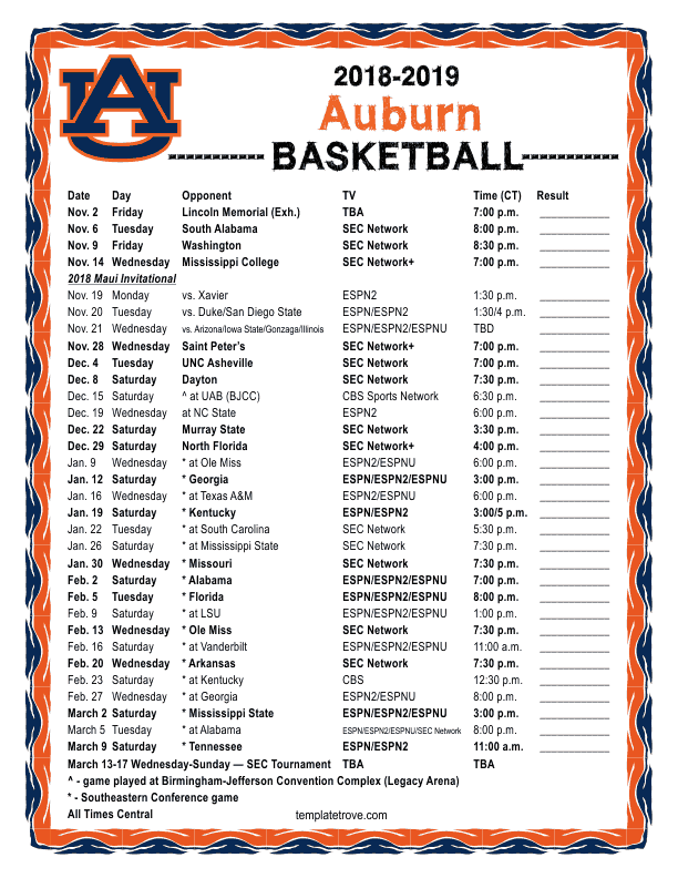 Printable 2018 2019 Auburn Tigers Basketball Schedule