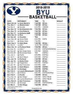 2018-2019 BYU Cougars Basketball Schedule