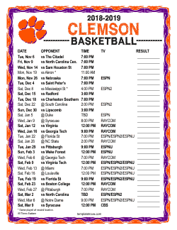2018-2019 Clemson Tigers Basketball Schedule