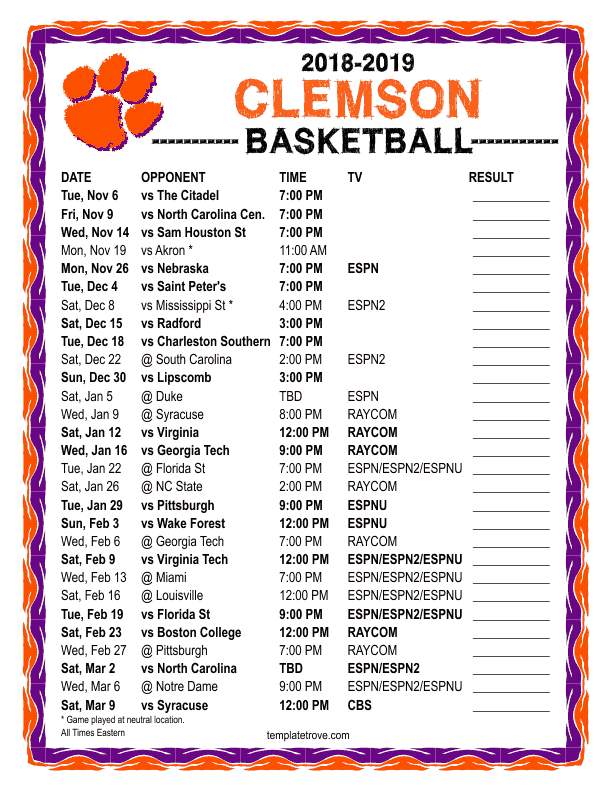 picture about Duke Basketball Schedule Printable identified as Printable 2018-2019 Clemson Tigers Basketball Program