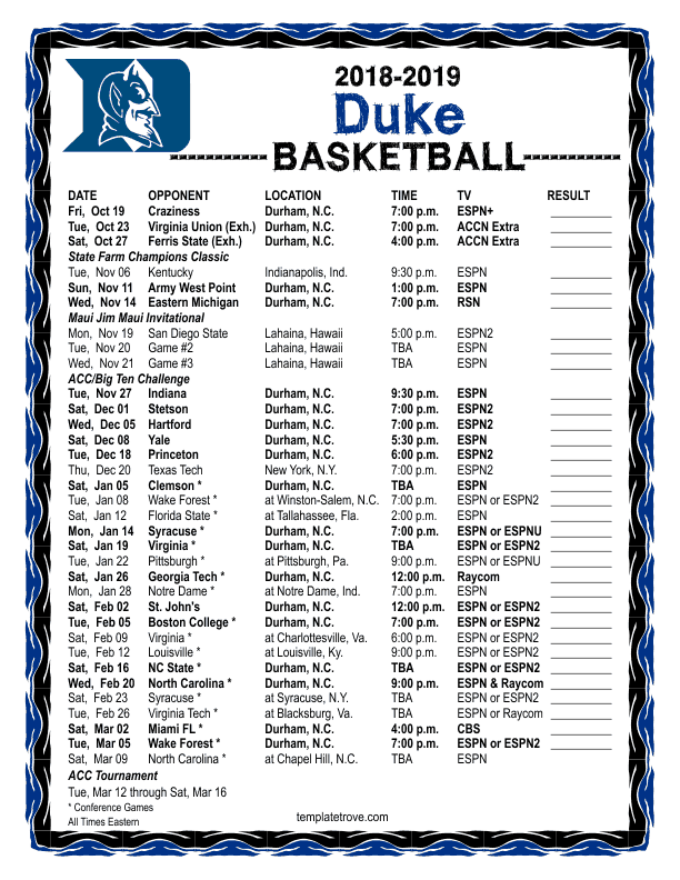 Duke Basketball Schedule Printable That Are Bright Garza S