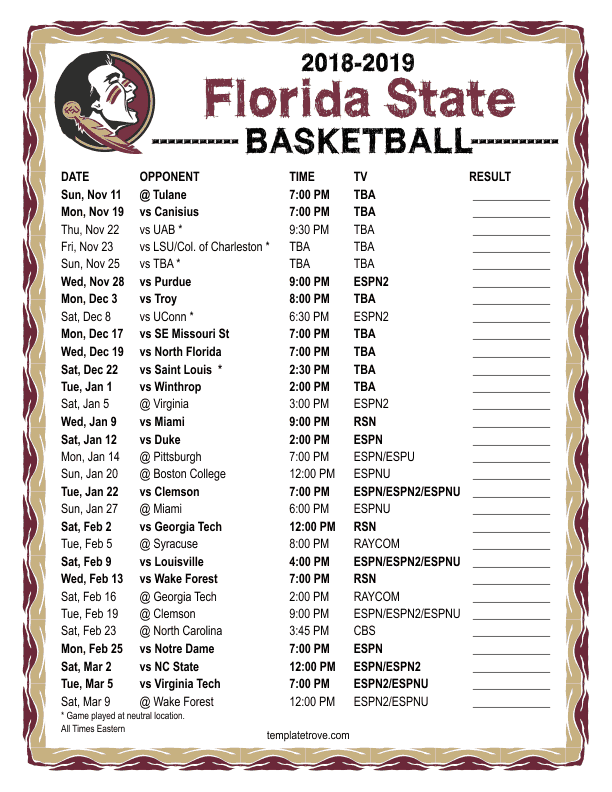 Printable 2018 2019 Florida State Seminoles Basketball Schedule