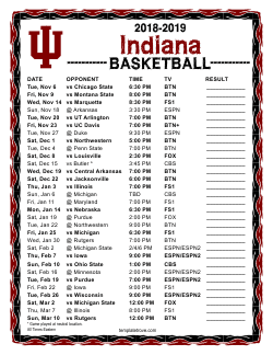 2018-2019 Indiana Hoosiers Basketball Schedule