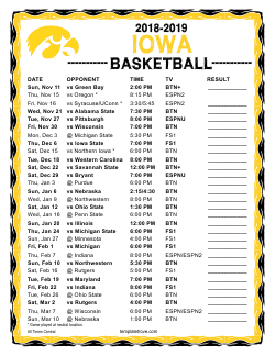 2018-2019 Iowa Hawkeyes Basketball Schedule