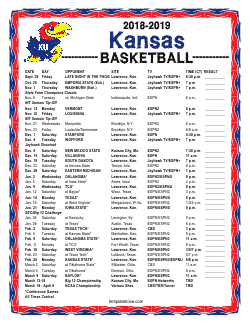 2018-2019 Kansas Jayhawks Basketball Schedule