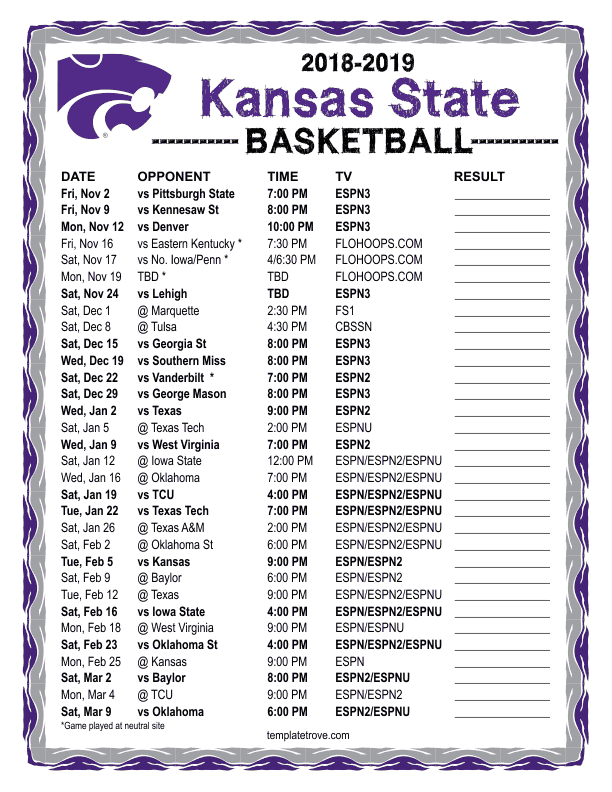 photo about Ku Basketball Schedule Printable referred to as Printable 2018-2019 Kansas-Country Nation Wildcats Basketball