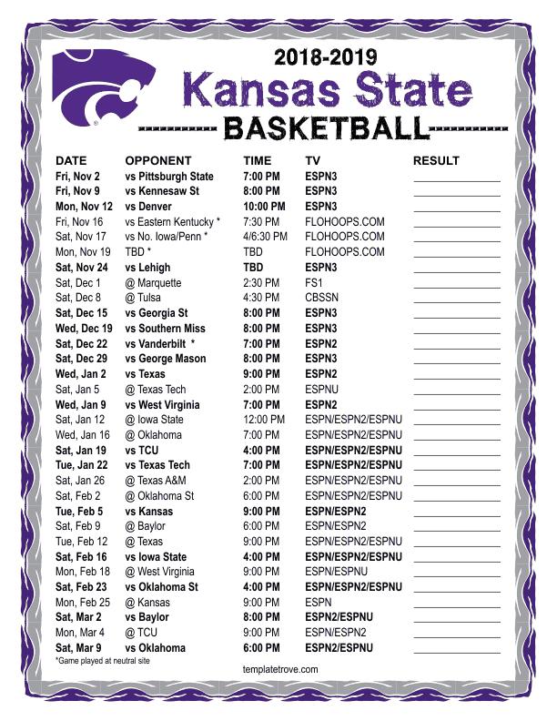 photo regarding Ku Basketball Schedule Printable named Printable 2018-2019 Kansas-Place Place Wildcats Basketball