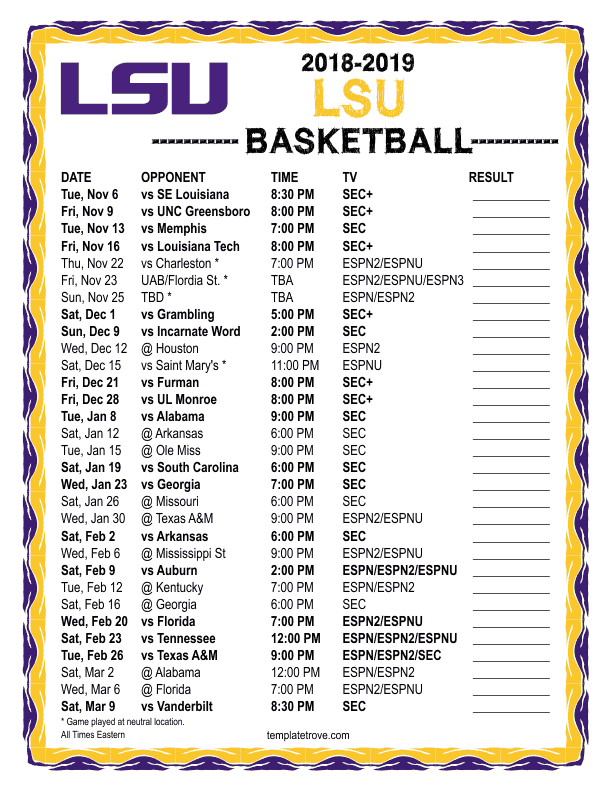 image about Printable Kentucky Basketball Schedule identify Printable 2018-2019 LSU Tigers Basketball Agenda
