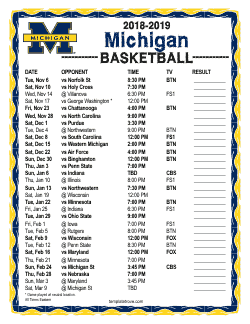 2018-2019 Michigan Wolverines Basketball Schedule