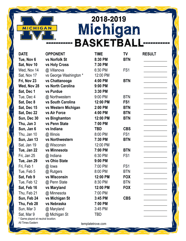 Printable 2018 2019 Michigan Wolverines Basketball Schedule