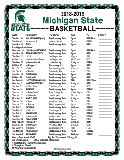 2018-2019 Michigan State Spartans Basketball Schedule