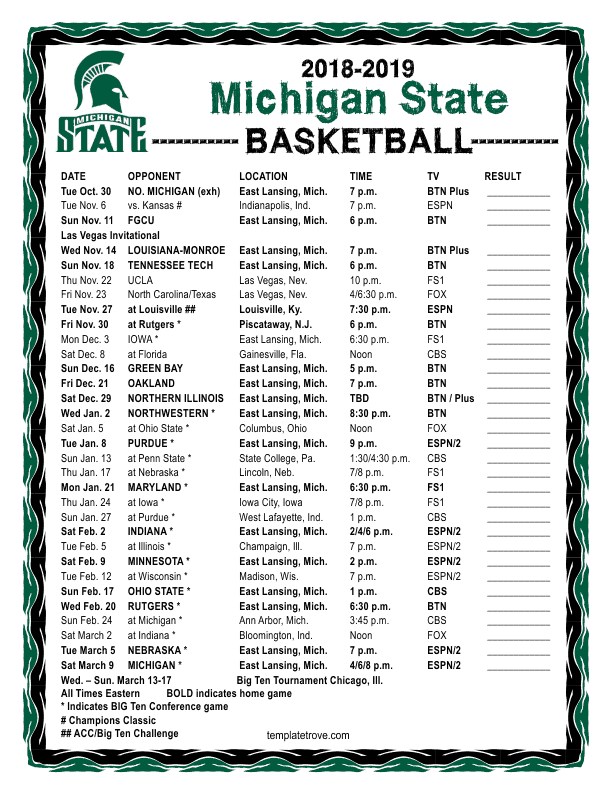 Printable 2018 2019 Michigan State Spartans Basketball Schedule