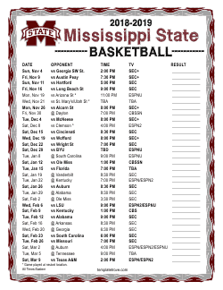 2018-2019 Mississippi State Bulldogs Basketball Schedule