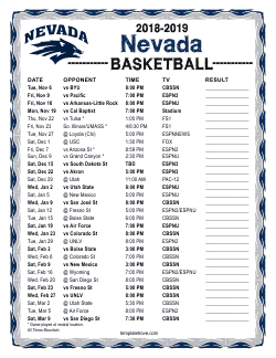 2018-2019 Nevada Wolf Pack Basketball Schedule