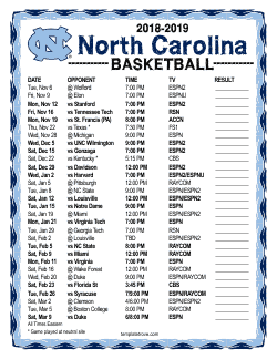 2018-2019 North Carolina Tarheels Basketball Schedule