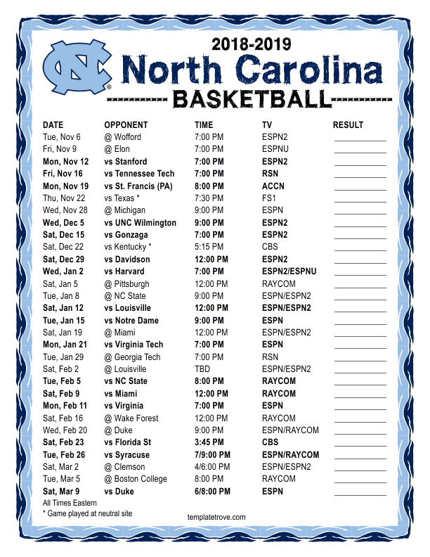 photo about Unc Basketball Schedule Printable called Printable 2018-2019 North Carolina Tarheels Basketball Timetable