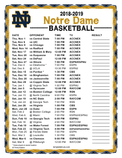 2018-2019 Notre Dame Fighting Irish Basketball Schedule