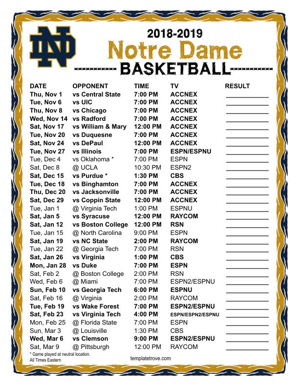 Printable 2018 2019 Notre Dame Fighting Irish Basketball Schedule