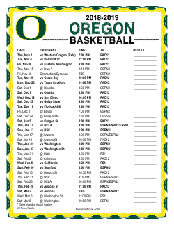 2018-2019 Oregon Ducks Basketball Schedule