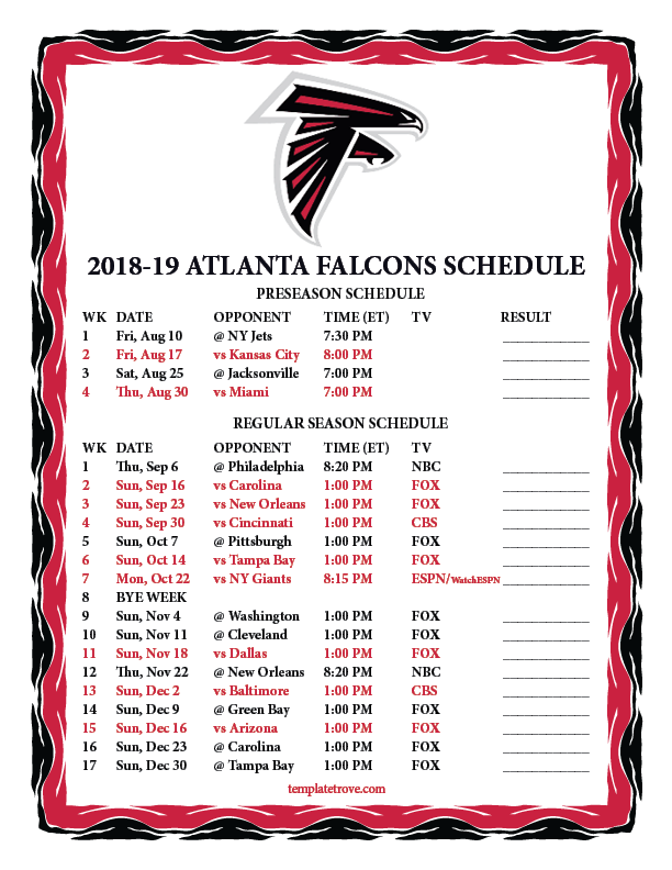 Atlanta Falcons 2019 Football Schedule Printable 2018 2019 Atlanta Falcons Schedule