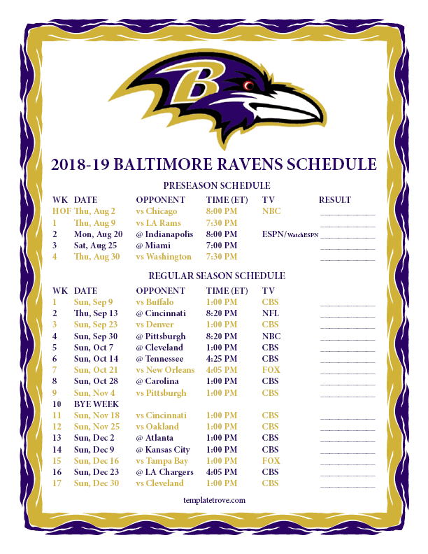 Printable 2018 2019 Baltimore Ravens Schedule